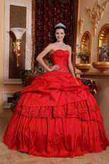 Crimson Sweetheart Neck Quinceanera Dress 2014 Style