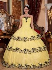 Moon Yellow Lace Cascade Layers Skirt Quinceanera Gown