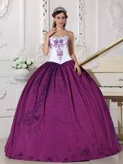 Stylish Embroidery Dark Magenta Quinceanera Prom Girl Dress