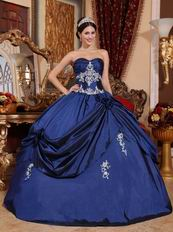Navy Blue Puffy Floor Length Skirt Evening Ball Gown