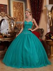 Puffy Jade Quinceanera Dress With Floor Length Skirt