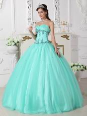 Sweetheart Pale Turquoise Beautiful Winter Quinceanera Dress