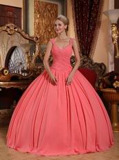 Watermelon Chiffon V-neck 2014 Spring Quinceanera Gown