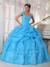 Off The Shoulder Aqua Quinceanera Dress Free Shipping