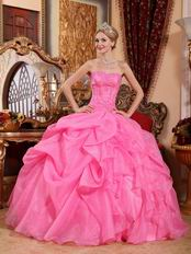 Beautiful Strapless Hot Pink Organza Princess Prom Ball Gown