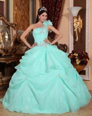 One Shoulder Aqua Blue Organza Puffy Quinceanera Dress