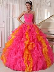 Hot Pink and Orange Ruffled Skirt Quinceanera Dress Contrast Color