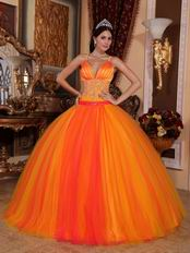 Orange Red Spaghetti Straps Sweet 16 Quinceanera Party Wear