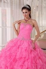 Floor-length Hot Pink Ruffled Skirt Quinceanera Party Dress