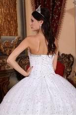 White Cascade Puffy Skirt Sequin Fabric Sweet 16 Dress For Girl