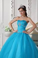 Deep Sky Blue Prom Ball Dress To Military Party Wear