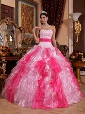 Pink and Hot Pink Ruffles Skirt Contrast Color Quinceanera Dress