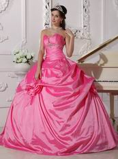 Sweetheart Puffy Long Quinceanera Dress In Hot Pink