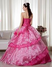 Deep Pink Floor Length Military Quinceanera Ball Gown