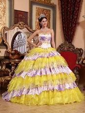Sweetheart Bright Yellow And Printed Layers Quinceanera Dress