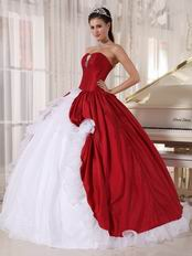 Wine Red Military Strapless Floor Length Ball Gown
