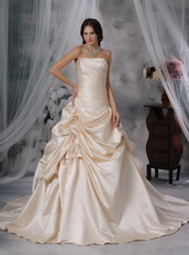Champagne Strapless Lace up Wedding Dress Stain Fabric Low Price