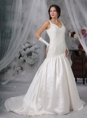 Exquisite Straps Wedding Bridal Dress With Beading Low Price