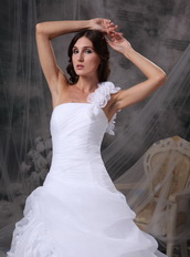One Shoulder White Wedding Dress With Handmade Flowers Low Price