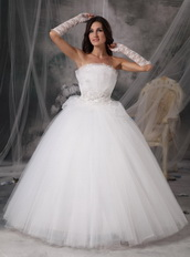 2013 Strapless Floor-length Tulle Puffy Wedding Gown Discount Low Price