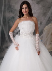 Off White Strapless Floor-length Tulle Puffy Wedding Gown Discount Low Price