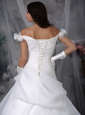 Elegant Off Shoulder Corset Back Wedding Dress Pure White Low Price