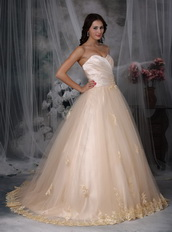 Sweetheart Neck A-line Champagne Wedding Dress Puffy Low Price