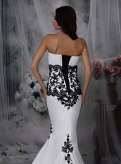 Sexy White Wedding Dress With Black Lace Mermaid Skirt Low Price