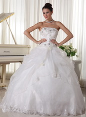 Beaded Over Up Bodice Custom Made Bridal Gown With Strapless Skirt Low Price