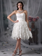 Affordable Sweetheart Ruffled Lace Skirt Wedding Dress Short Low Price