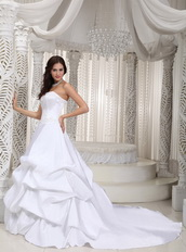 Classical Taffeta White Bubble Wedding Dress Cathedral Train Low Price