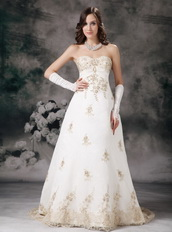 Affordable Ivory Wedding Dress With Champagne Lace Decorate Low Price