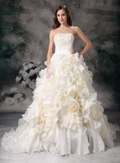 Beautiful Strapless Ruffled Puffy Ivory Wedding Dress 2013 Low Price