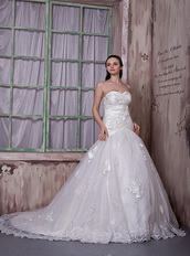 Appliqued Destination Wedding Bridal Gowns With Sweetheart Neck Low Price
