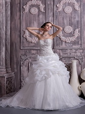 Best Sell Stapless Chapel Train Organza Pick-ups Bubble Bridal Gown Low Price
