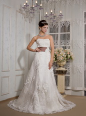 Beautiful Strapless Court Train Belt Wedding Dress With Applique Low Price