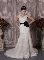 2014 Gorgeous Lace Wedding Dress With Black Flowers Sash Low Price