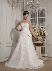 Affordable Strapless Lace Bowknot Wedding Dress Sample Sale Low Price