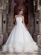 Best Seller Sweetheart Chapel Train Feathers Western Wedding Gown Puffy Low Price