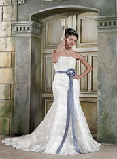 Beautiful Mermaid Strapless Ivory Lace Wedding Dress With Grey Sash Low Price