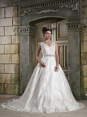 2013 V Neck Style Puffy Skirt Discount Wedding Dress For Sale Low Price