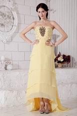 High Low Layers Skirt Yellow Chiffon Women Evening Dress