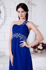 Inexpensive One Shoulder Royal Blue Evening Party Dress