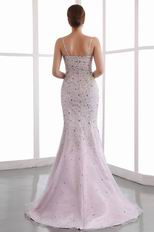 Amazing Spaghetti Straps Trumpet Pink Beaded Evening Dress