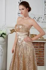 Flaring Strapless Gold Sequin Fabric Evening Dress With Sash