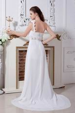 Designer One Shoulder Flower Straps White Party Dress