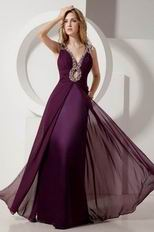 V Neck Purple Evening Party Dress For Cheap Price