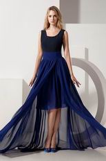 Square High Low Black And Royal Blue Evening Dress Sale