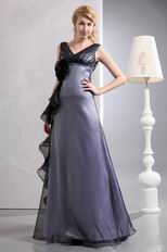 2012 Style Discount V Neck Floor Length Silver Evening Dress