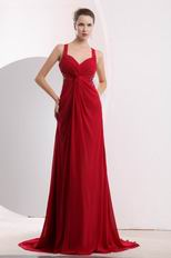 Straps Criss Cross Wine Red Evening Dress Made By Chiffon